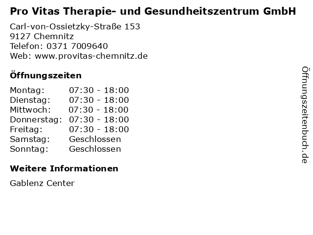 Pro Vitas Therapie- und Gesundheitszentrum GmbH in Chemnitz: Adresse und Öffnungszeiten