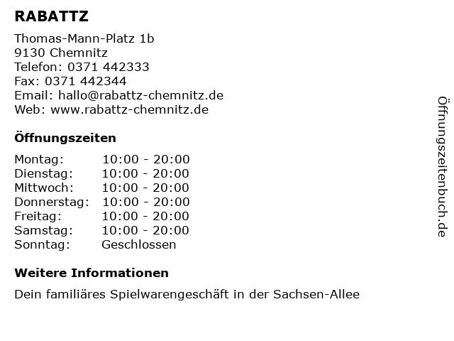 RABATTZ in Chemnitz: Adresse und Öffnungszeiten