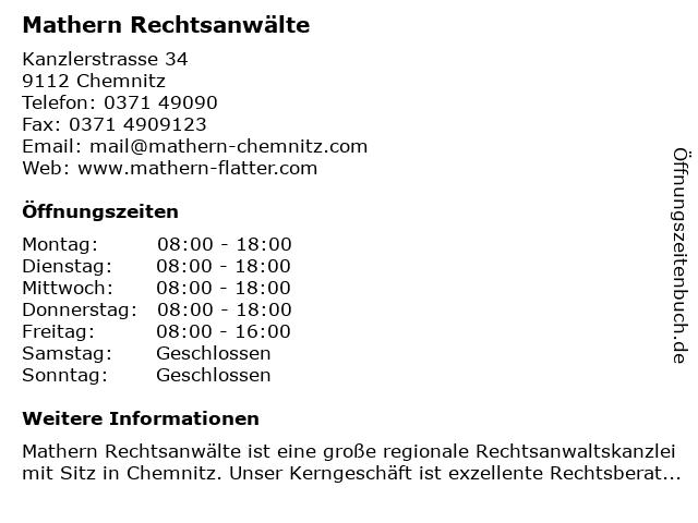 Rechtsanwälte Mathern Flatter in Chemnitz: Adresse und Öffnungszeiten