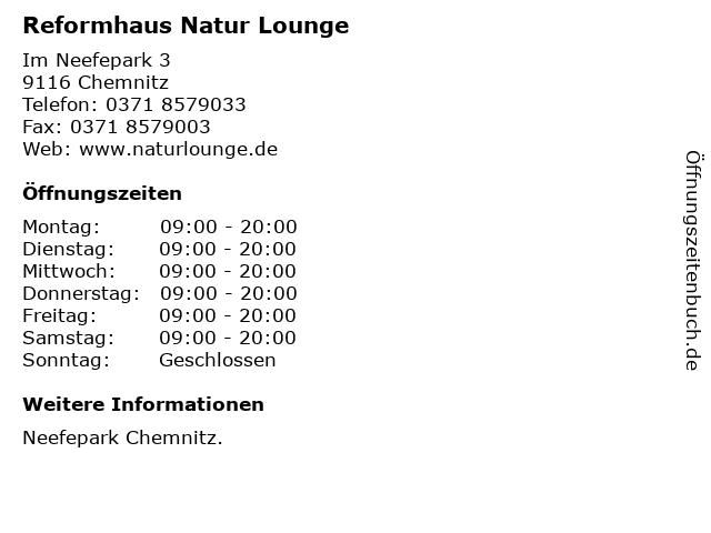 Reformhaus Natur Lounge in Chemnitz: Adresse und Öffnungszeiten