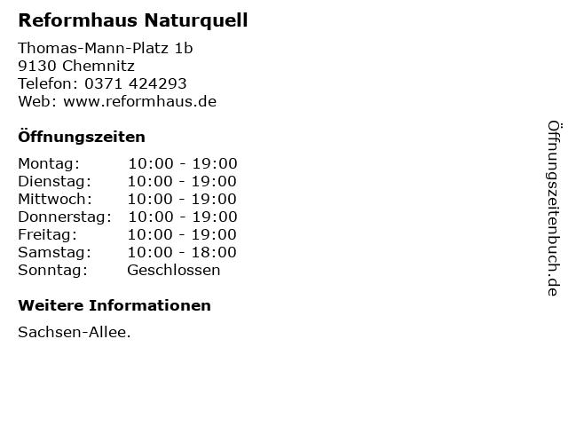 Reformhaus Naturquell in Chemnitz: Adresse und Öffnungszeiten