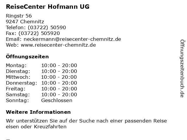 ReiseCenter Hofmann UG in Chemnitz: Adresse und Öffnungszeiten