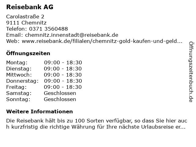 ReiseBank AG in Chemnitz: Adresse und Öffnungszeiten