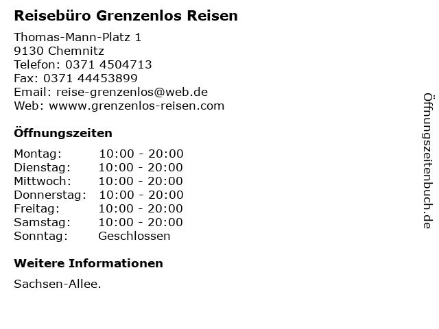 Reisebüro Grenzenlos Reisen in Chemnitz: Adresse und Öffnungszeiten