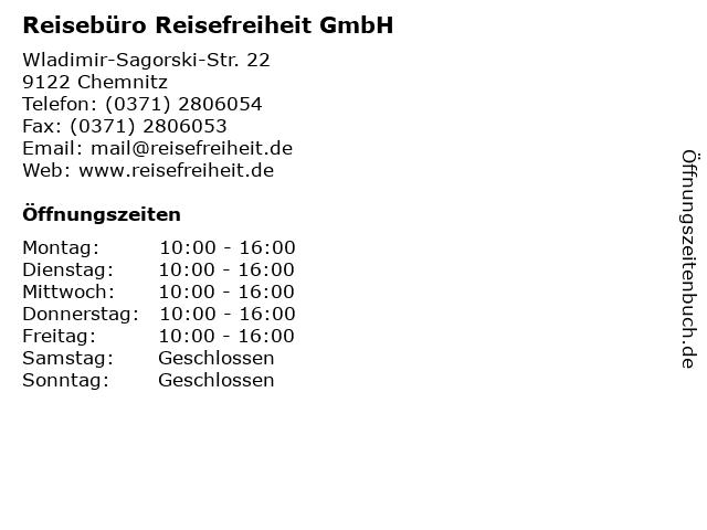 Reisebüro Reisefreiheit GmbH in Chemnitz: Adresse und Öffnungszeiten