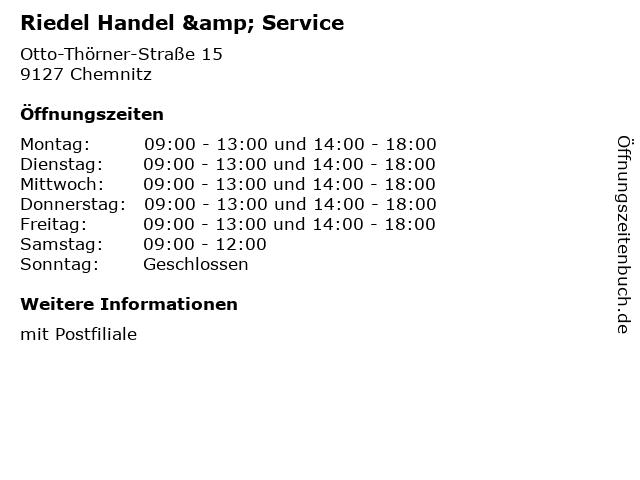 Riedel Handel & Service in Chemnitz: Adresse und Öffnungszeiten