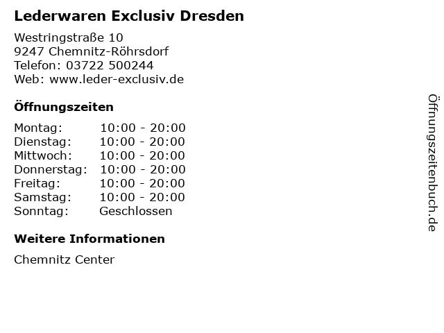 Lederwaren Exclusiv Dresden in Chemnitz-Röhrsdorf: Adresse und Öffnungszeiten