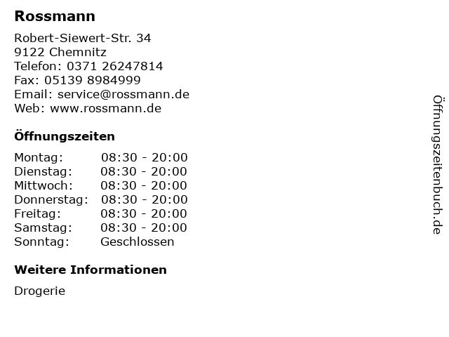 Rossmann in Chemnitz: Adresse und Öffnungszeiten