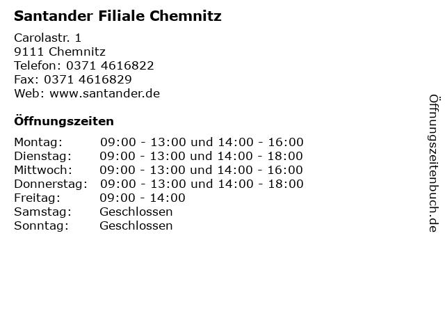 Santander Filiale Chemnitz in Chemnitz: Adresse und Öffnungszeiten