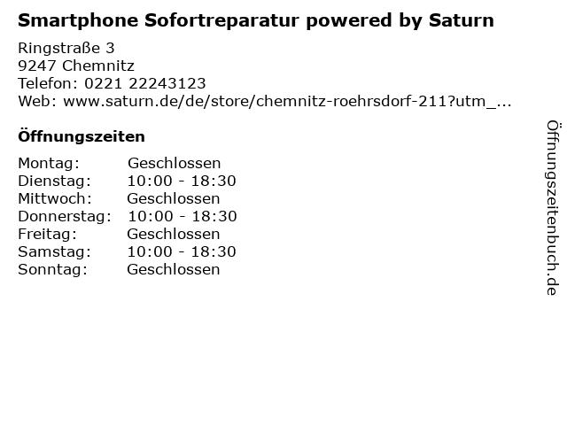 Saturn in Chemnitz: Adresse und Öffnungszeiten
