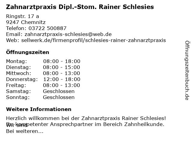 Schlesies, Dipl.-Stom. Rainer in Chemnitz: Adresse und Öffnungszeiten