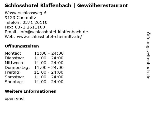 Schlosshotel Klaffenbach | Gewölberestaurant in Chemnitz: Adresse und Öffnungszeiten
