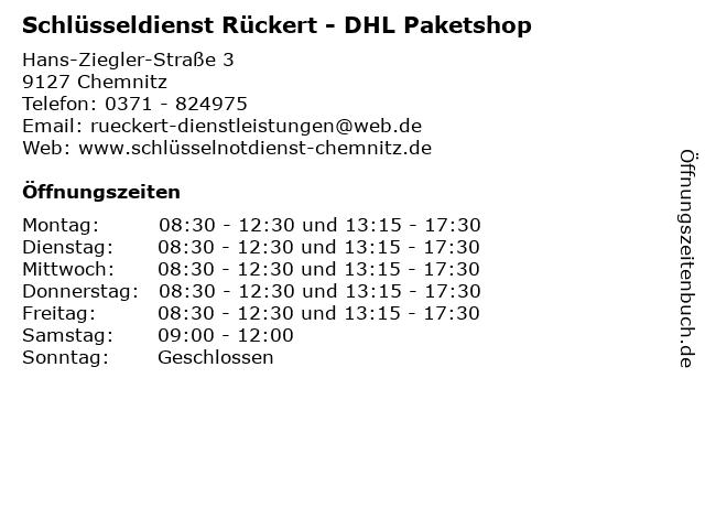 Schlüsseldienst Rückert - DHL Paketshop in Chemnitz: Adresse und Öffnungszeiten