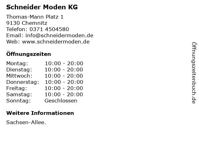 Schneider Moden KG in Chemnitz: Adresse und Öffnungszeiten