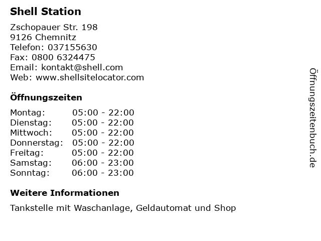 Shell Station in Chemnitz: Adresse und Öffnungszeiten
