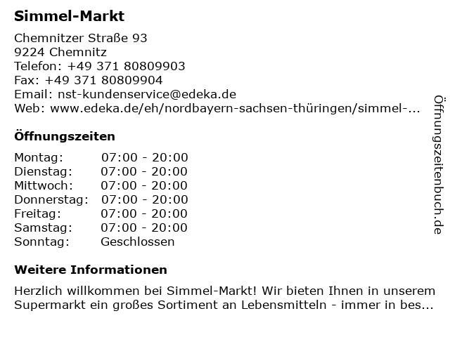 Simmel-Markt in Chemnitz: Adresse und Öffnungszeiten