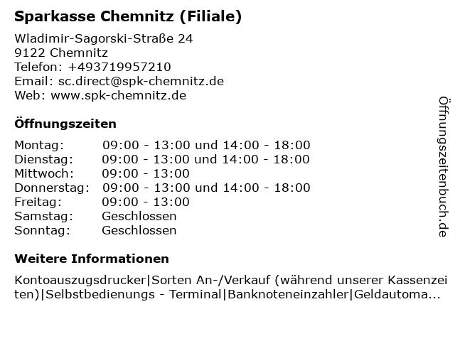 Sparkasse Chemnitz - Geschäftsstelle VitaCenter in Chemnitz: Adresse und Öffnungszeiten