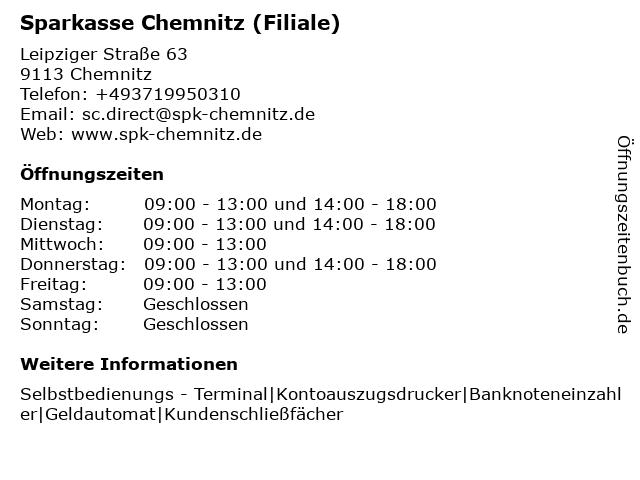 Sparkasse Chemnitz in Chemnitz: Adresse und Öffnungszeiten