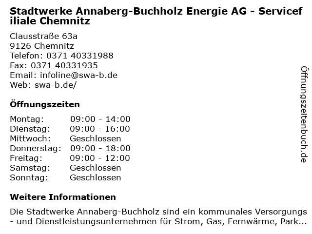 Stadtwerke Annaberg-Buchholz Energie AG in Chemnitz: Adresse und Öffnungszeiten