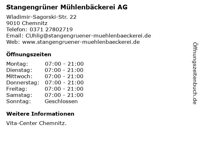 Stangengrüner Mühlenbäckerei AG in Chemnitz: Adresse und Öffnungszeiten