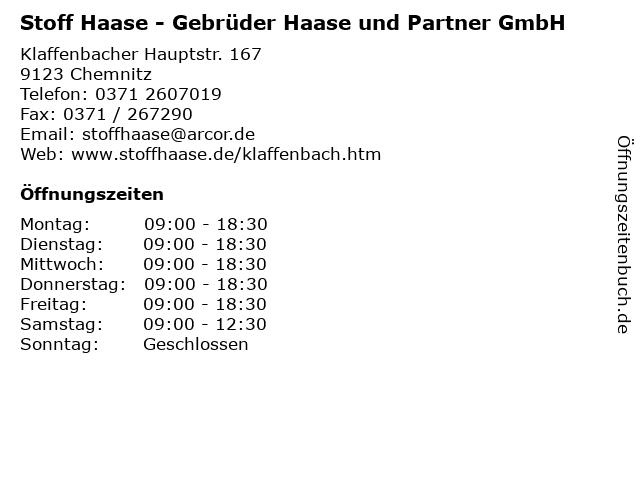 Stoff Haase - Gebrüder Haase und Partner GmbH in Chemnitz: Adresse und Öffnungszeiten