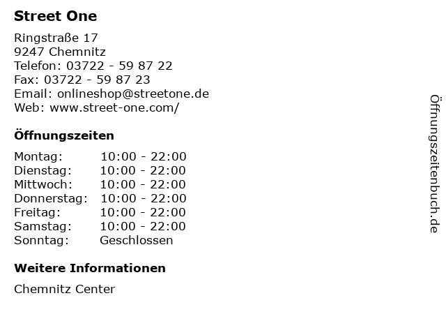 Street One in Chemnitz: Adresse und Öffnungszeiten