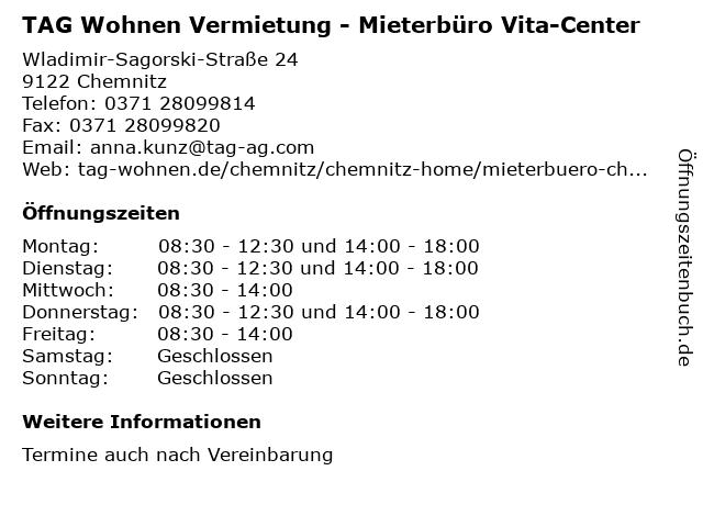 TAG Wohnen Vermietung - Mieterbüro Vita-Center in Chemnitz: Adresse und Öffnungszeiten