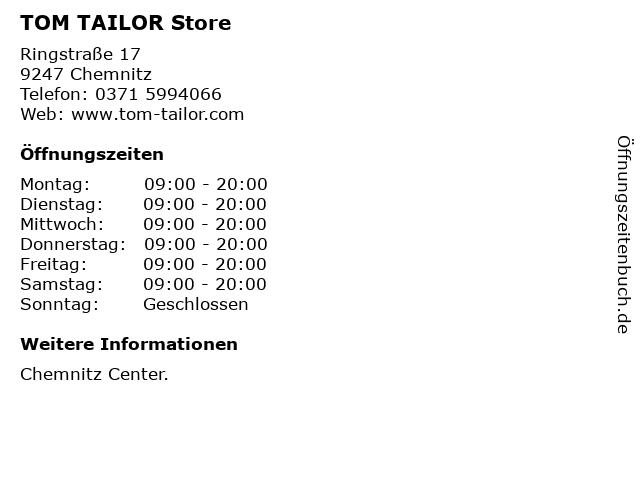 TOM TAILOR Store in Chemnitz: Adresse und Öffnungszeiten