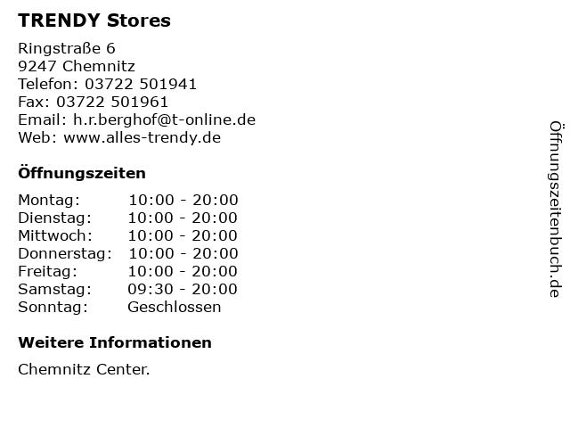 TRENDY Stores in Chemnitz: Adresse und Öffnungszeiten