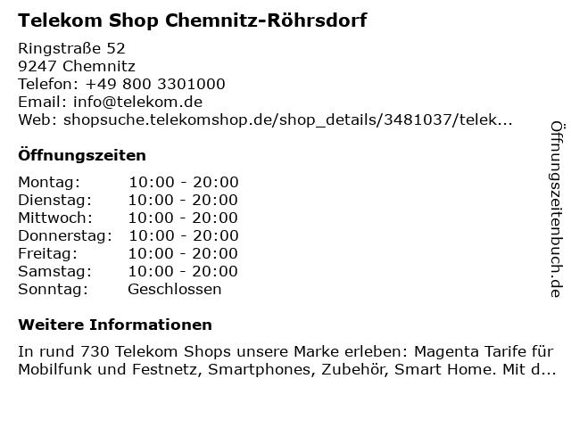 Telekom Shop Chemnitz-Röhrsdorf in Chemnitz: Adresse und Öffnungszeiten
