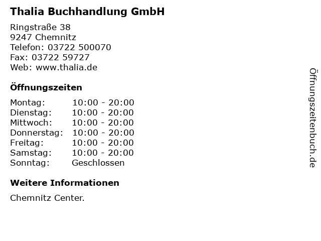 Thalia Buchhandlung GmbH in Chemnitz: Adresse und Öffnungszeiten