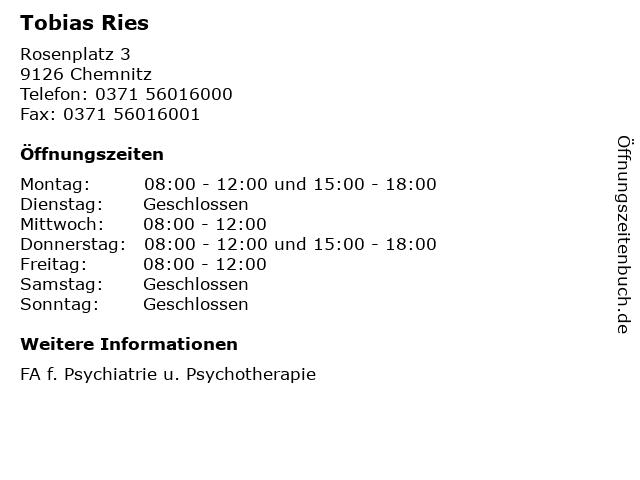 Tobias Ries in Chemnitz: Adresse und Öffnungszeiten