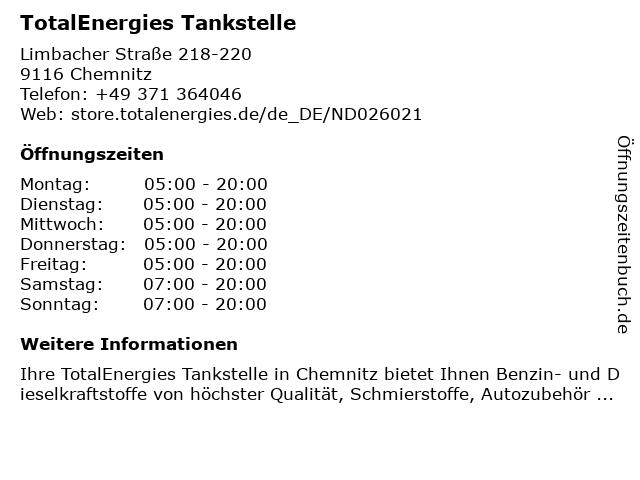 TOTAL Tankstelle in Chemnitz: Adresse und Öffnungszeiten