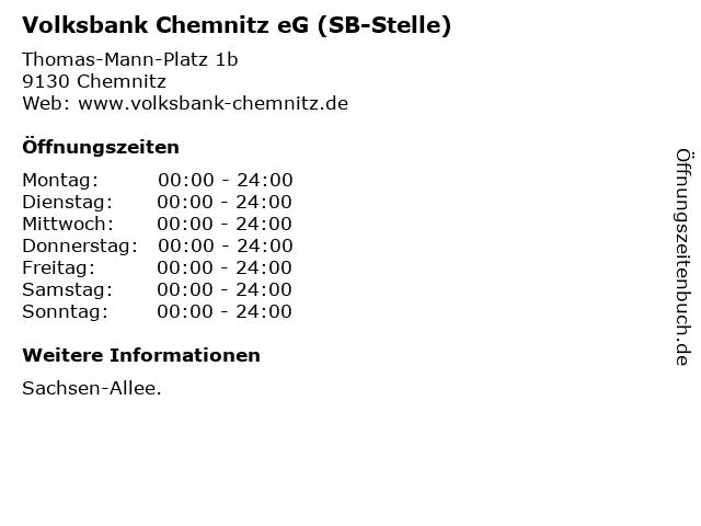 Volksbank Chemnitz eG (SB-Stelle) in Chemnitz: Adresse und Öffnungszeiten