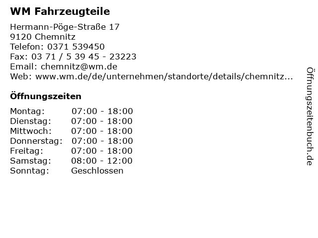 WM Fahrzeugteile in Chemnitz: Adresse und Öffnungszeiten