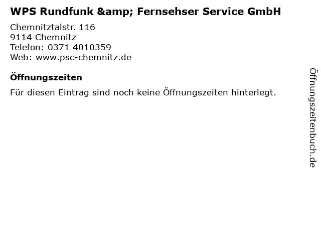 WPS Rundfunk & Fernsehser Service GmbH in Chemnitz: Adresse und Öffnungszeiten