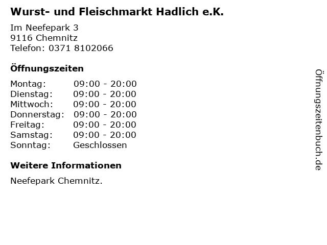 Wurst- und Fleischmarkt Hadlich e.K. in Chemnitz: Adresse und Öffnungszeiten