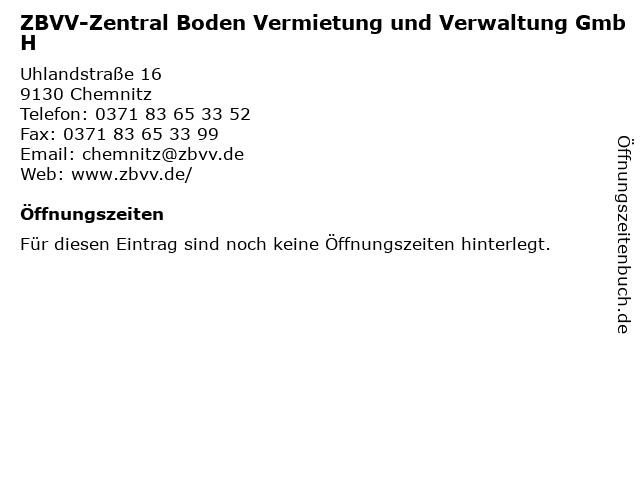 ZBVV-Zentral Boden Vermietung und Verwaltung GmbH in Chemnitz: Adresse und Öffnungszeiten