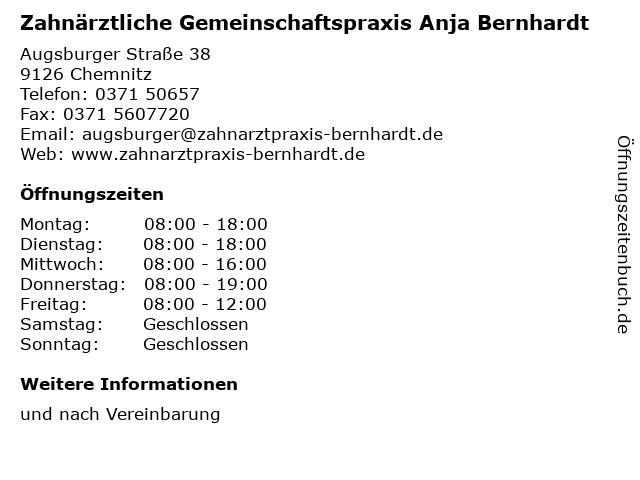 Zahnärztliche Gemeinschaftspraxis Anja Bernhardt in Chemnitz: Adresse und Öffnungszeiten