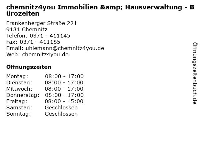 chemnitz4you Immobilien & Hausverwaltung - Bürozeiten in Chemnitz: Adresse und Öffnungszeiten