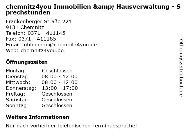 chemnitz4you Immobilien & Hausverwaltung - Sprechstunden in Chemnitz: Adresse und Öffnungszeiten