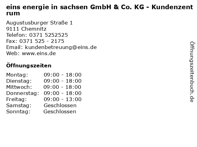eins energie in sachsen GmbH & Co. KG - Kundenzentrum in Chemnitz: Adresse und Öffnungszeiten