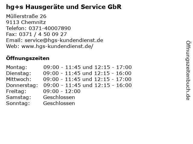 hg+s Hausgeräte und Service GbR in Chemnitz: Adresse und Öffnungszeiten