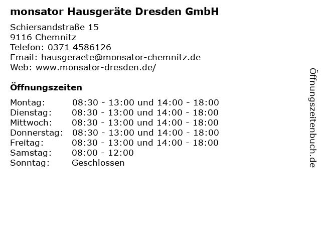 monsator Hausgeräte Dresden GmbH in Chemnitz: Adresse und Öffnungszeiten