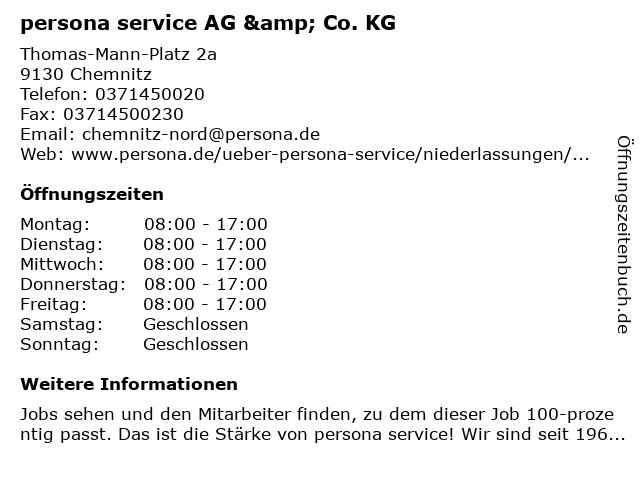 persona service AG & Co. KG in Chemnitz: Adresse und Öffnungszeiten