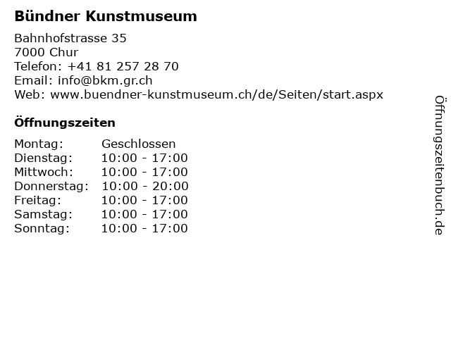 Bündner Kunstmuseum in Chur: Adresse und Öffnungszeiten