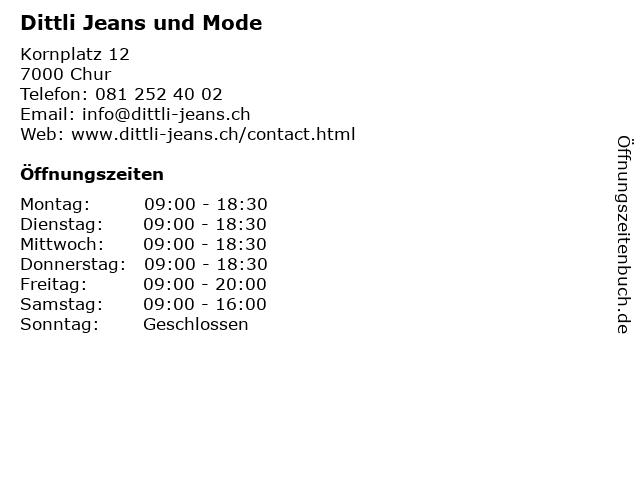Dittli Jeans und Mode in Chur: Adresse und Öffnungszeiten