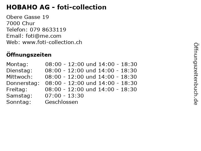 HOBAHO AG - foti-collection in Chur: Adresse und Öffnungszeiten