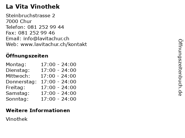 La Vita Vinothek in Chur: Adresse und Öffnungszeiten