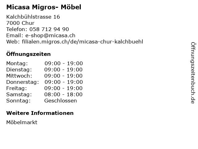 ᐅ öffnungszeiten Micasa Migros Möbel Kalchbühlstrasse 16 In Chur
